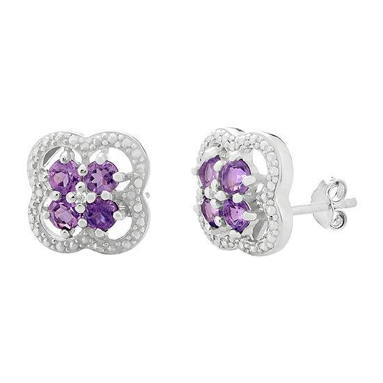 Diamond Accent Genuine Purple Amethyst Sterling Silver 13mm Flower Stud Earrings