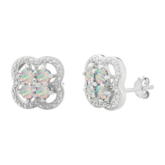 Diamond Accent Lab Created White Opal Sterling Silver 13mm Flower Stud Earrings