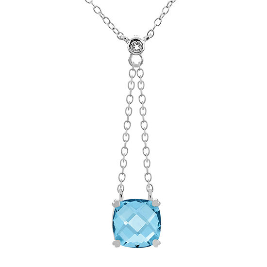 Womens Genuine Blue Topaz Sterling Silver Square Y Necklace
