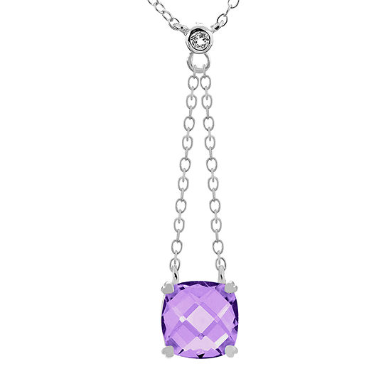 Womens Genuine Purple Amethyst Sterling Silver Square Y Necklace