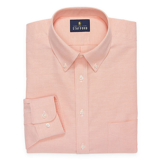 Stafford Mens Button Down Collar Long Sleeve Wrinkle Free Stretch Dress Shirt