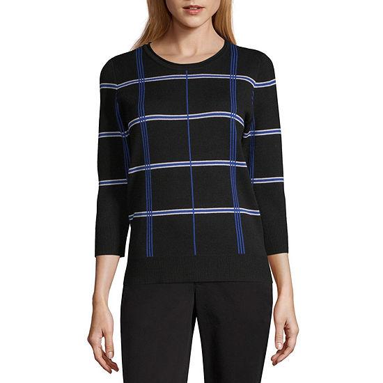 Liz Claiborne Womens Crew Neck 3/4 Sleeve Plaid Pullover Sweater