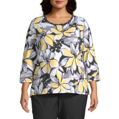 Alfred Dunner Plus Riverside Drive-Womens Round Neck 3/4 Sleeve T-Shirt