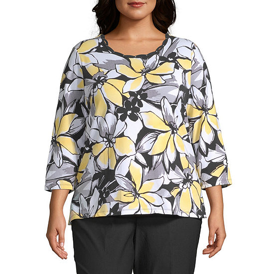 Alfred Dunner Floral Texture Pullout Top-Plus