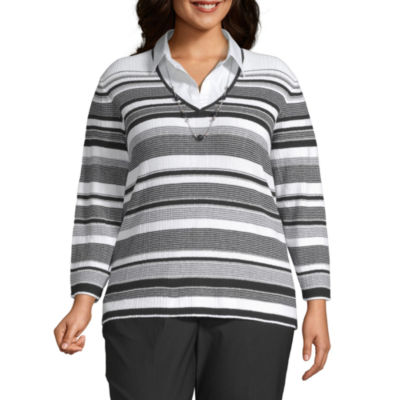 Alfred Dunner Plus Riverside Drive-Womens Long Sleeve T-Shirt