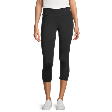 Stylus Womens Mid Rise Capri Leggings, Large , Black