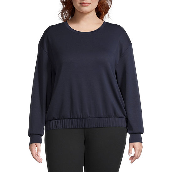 Stylus Plus Elastic Bottom Womens Crew Neck Long Sleeve Sweatshirt