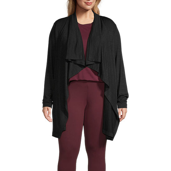 Stylus-Plus Waterfall Womens Long Sleeve Open Front Cardigan