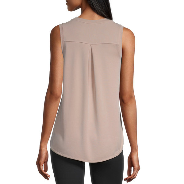 Stylus Shirttail Womens Round Neck Sleeveless Tank Top