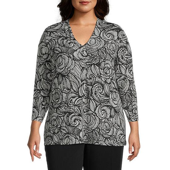 Worthington Womens 3/4 Sleeve V Neck Blouse - Plus