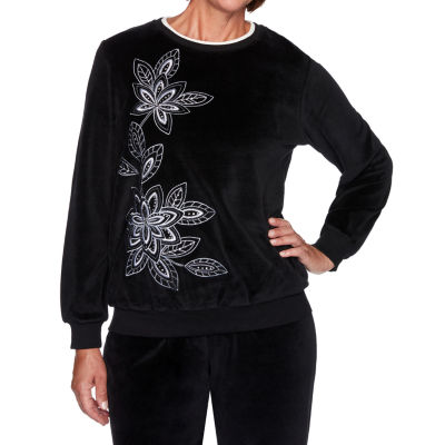 Alfred Dunner Modern Living Womens Crew Neck Long Sleeve T-Shirt
