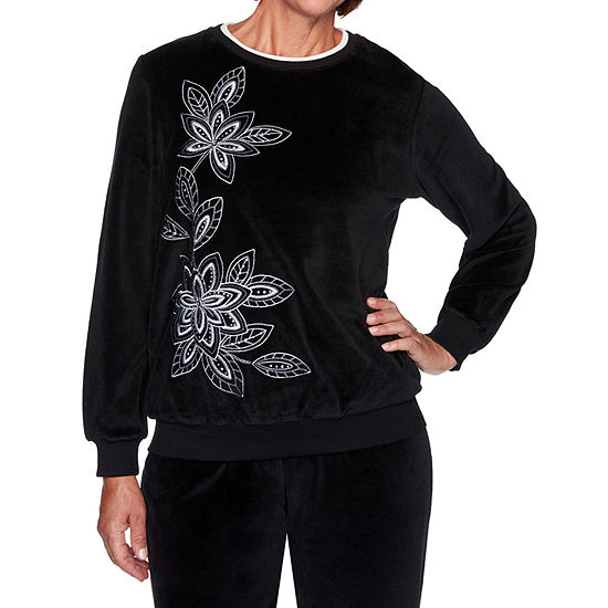 Alfred Dunner Modern Living Womens Crew Neck Long Sleeve T-Shirt