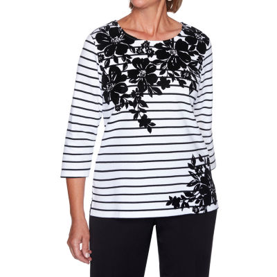 Alfred Dunner Modern Living-Womens Round Neck 3/4 Sleeve T-Shirt
