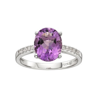 Genuine Amethyst and Lab-Created Sapphire Sterling Silver Ring