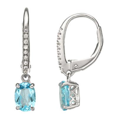 Swiss Blue Topaz & Lab-Created Sapphire Drop Earrings