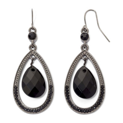 Mixit™ Black Faceted Teardrop Earrings