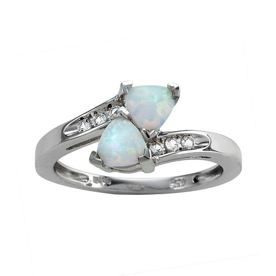 Womens Genuine White Opal Sterling Silver Cocktail Ring