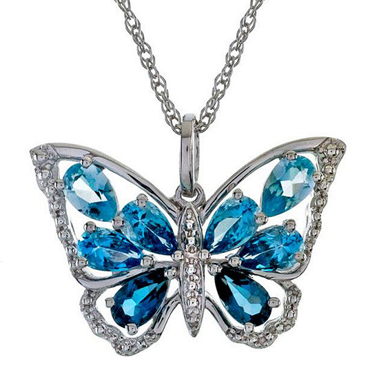 Simulated Blue Topaz Butterfly Pendant Necklace