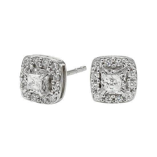 1/2 CT. T.W. Diamond 10K White Gold Square Framed Stud Earrings