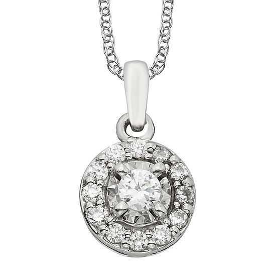 1/4 CT. T.W. Diamond 10K White Gold Round Framed Pendant Necklace