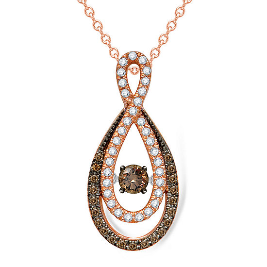 Love in Motion™ 3/8 CT. T.W. White & Champagne Diamond 10K Gold Infinity Pendant