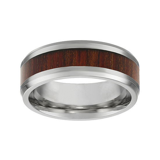 Mens Stainless Steel & Wood Inlay Band Ring