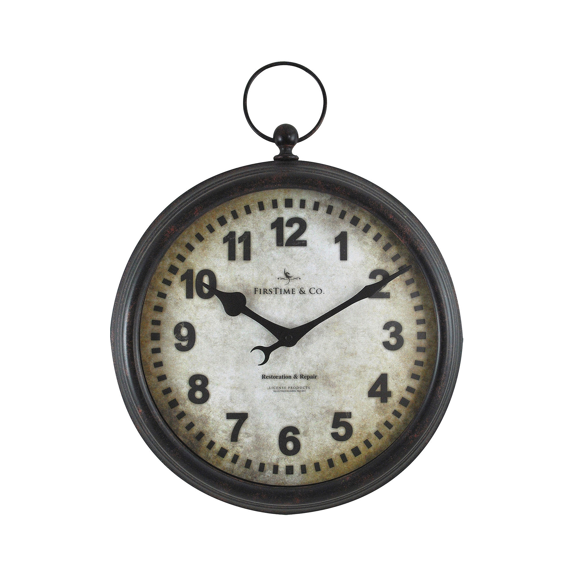 FirsTime Metal Pocket Watch Wall Clock