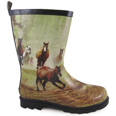 Smoky Mountain Kid's Running Horse Waterproof Rubber Rain Boot