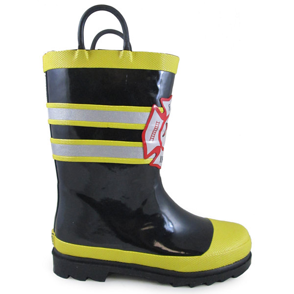 Smoky Mountain Kid's Fireman Rubber Rain Boot with Reflection Stripe Toddler