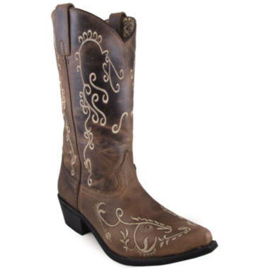 "Smoky Mountain Women's Jolene 11"" Waxed Distress Leather Cowboy Boot"