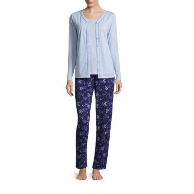 Adonna Long Sleeve Cardigan, Tank, and Pant 3pc Pajama Set