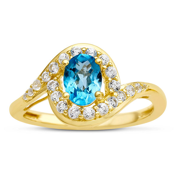 Womens Genuine Blue Blue Topaz Gold Over Silver Cocktail Ring