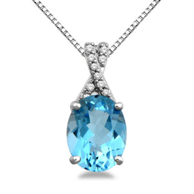 Womens Genuine Blue Topaz Pendant Necklace