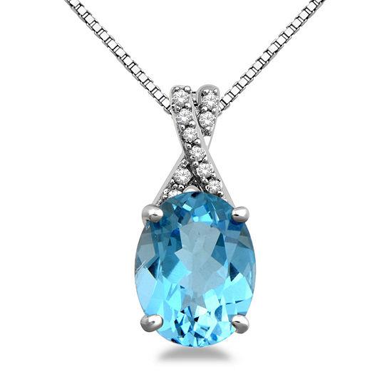 Womens Genuine Blue Topaz Pendant Necklace