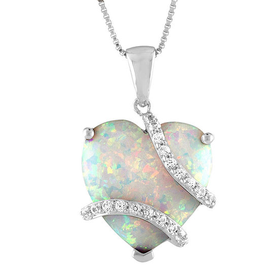 Womens Lab Created White Opal Heart Pendant Necklace