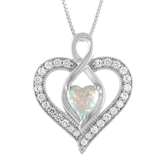 Womens Lab Created White Opal Sterling Silver Heart Pendant Necklace