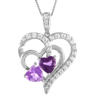 Womens Lab Created Purple Amethyst Sterling Silver Heart Pendant Necklace