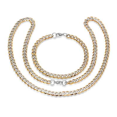 Mens 2-pc. 18K Gold over Stainless Steel Jewelry Set