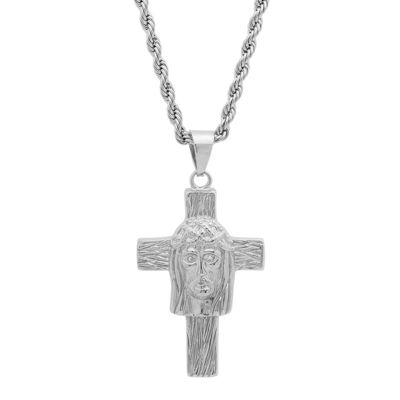 Steeltime Mens White Cubic Zirconia Stainless Steel Cross Pendant Necklace