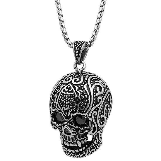 Steeltime Mens Black Cubic Zirconia Stainless Steel Pendant Necklace