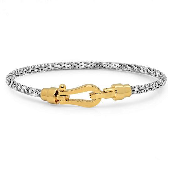 Mens 8 Inch 18K Gold over Stainless Steel Link Bracelet