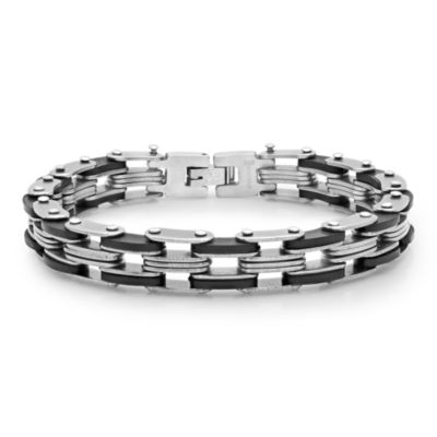 Steeltime Mens 8 Inch Stainless Steel Link Bracelet