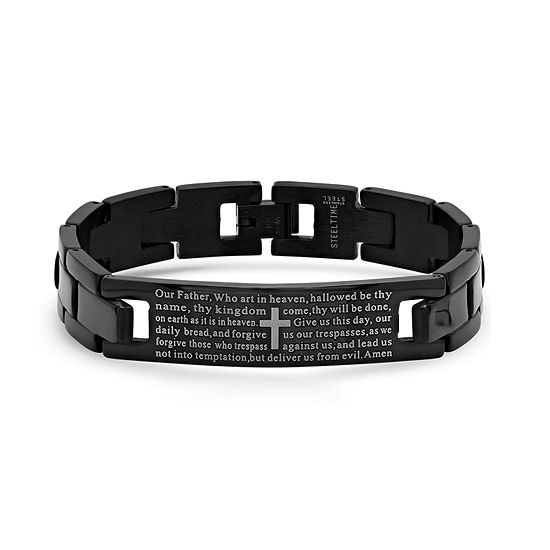 Steeltime Lord'S Prayer Black Ion Plated Stainless Steel 8 Inch Solid Link Link Bracelet