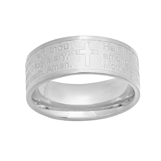 Steeltime Hail Mary Prayer Mens 8MM Stainless Steel Band