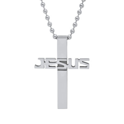 Steeltime Mens Stainless Steel Cross Pendant Necklace