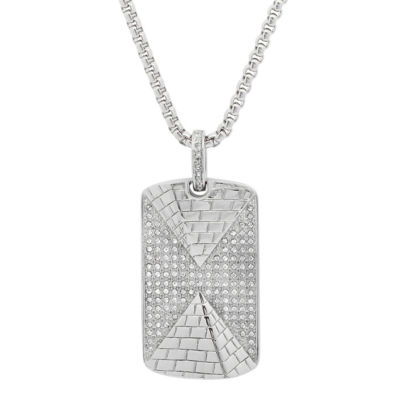 Steeltime Mens White Cubic Zirconia Stainless Steel Dog Tag Pendant Necklace