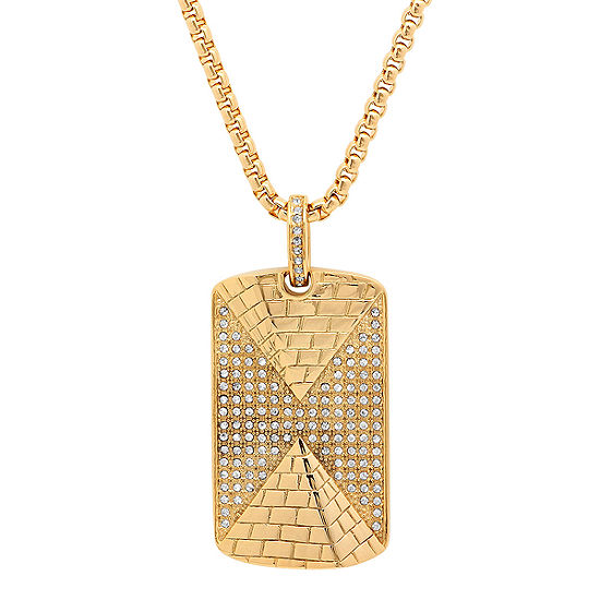 Mens White Cubic Zirconia 18K Gold over Stainless Steel Pendant Necklace