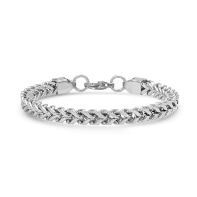 Steeltime Stainless Steel 8 1/2 Inch Semisolid Box Chain Bracelet