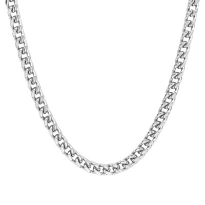 Steeltime Stainless Steel 24 Inch Semisolid Box Chain Necklace