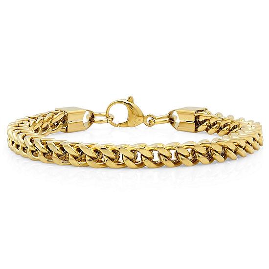 Mens 8 1/2 Inch 18K Gold over Stainless Steel Chain Bracelet